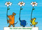 Postkarte A6 +++ SENDUNG MIT DER MAUS +++ VIEL GLÜCK ZUM GEBURTSTAG