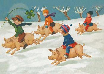 Postkarte A6 +++ WEIHNACHTEN +++ LUCKY PIGS