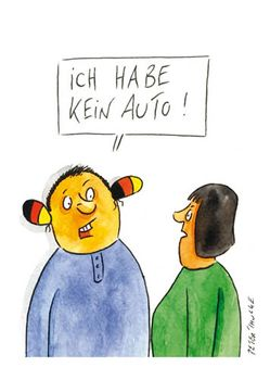 Postkarte A6 +++ CARTOON +++ KEIN AUTO