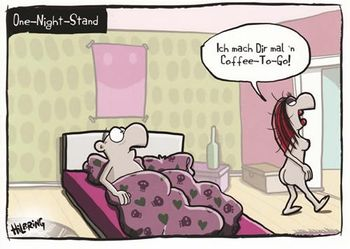 Postkarte A6 +++ CARTOON +++ ONE-NIGHT-STAND