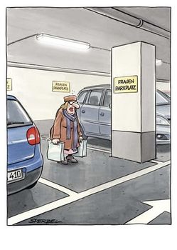 Postkarte A6 +++ CARTOON +++ FRAUENPARKPLATZ