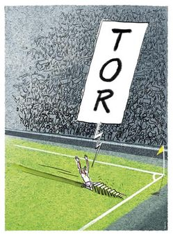Postkarte A6 +++ CARTOON +++ FUSSBALL TOR