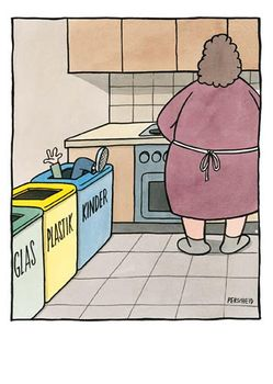 Postkarte A6 +++ CARTOON +++ GLAS, PLASTIK, KINDER * CG 2002