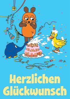 Postkarte A6 +++ SENDUNG MIT DER MAUS +++ HERZLICHEN GLÜCKWUNSCH TORTENSCHLACHT