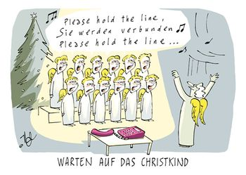 Postkarte A6 +++ WEIHNACHTEN +++ PLEASE HOLD THE LINE