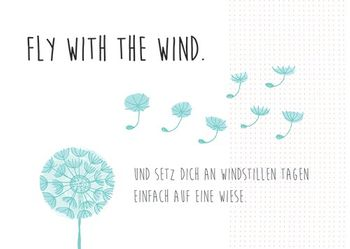 Postkarte A6 +++ LUSTIG +++ FLY WITH THE WIND