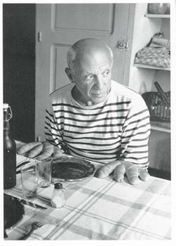 Postkarte A6 +++ SCHWARZ-WEISS +++ PICASSO AND THE LOAVES - 1952