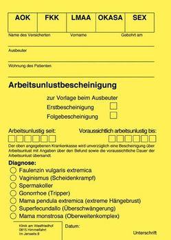 Postkarte A6 +++ LUSTIG +++ ARBEITSUNLUSTBESCHEINIGUNG