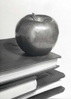 Postkarte A6 +++ LUSTIG +++ AN APPLE ON A STACK OF BOOKS