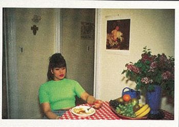 Postkarte A6 +++ SCHWARZ-WEISS +++ CHICKLET AT BRUCE´S DINNER PARTY - 1991