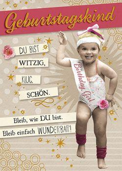 Postkarte A6 +++ LUSTIG +++ GEBURTSTAGSKIND GOLD