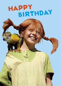 Postkarte A6 +++ PIPPI LANGSTRUMPF +++ PL PIPPI HAPPY BIRTHDAY