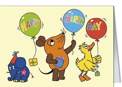 Grusskarte MINI SENDUNG MIT DER MAUS HAPPY BIRTHDAY BALLONS 001
