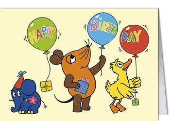 Grußkarte MINI +++ SENDUNG MIT DER MAUS +++ HAPPY BIRTHDAY BALLONS