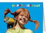 Grußkarte MINI +++ PIPPI LANGSTRUMPF +++ PL HAPPY BIRTHDAY PIPPI UND HERR NILSSON