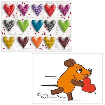 10er-Set: Postkarten A6 +++ MIX SET Nr. 1 +++ 10 schöne HERZ / LIEBE / HOCHZEIT-Motive – Bild 5