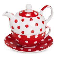 Teekanne mit Tasse Teebecher und Untersetzer Teller Set rot gepunktet 15x14 cm