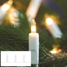 Mini Lichterkette 100-flammig weißes Kabel klare Kerzen für Innen 001