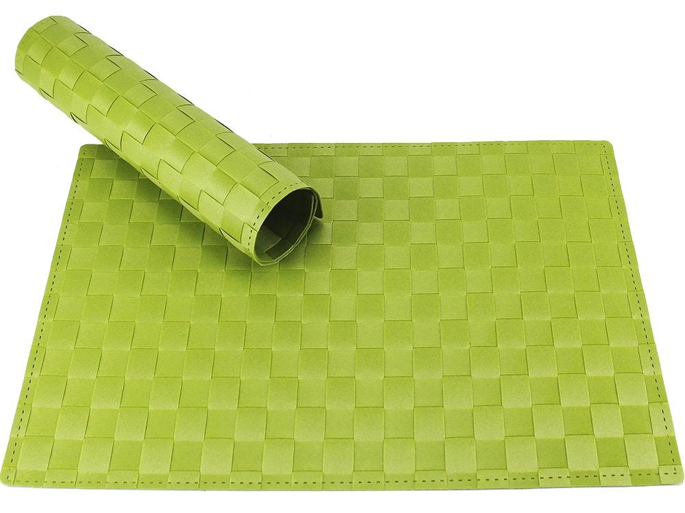 Tischset Platzset MODERN Grün Hellgrün Geflochten Kunststoff 1 Stk. 45x30  Cm 001