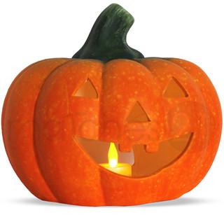 Jack O'Lantern Halloween Kürbis / Windlicht 21x19 cm Ton + LED-Teelicht