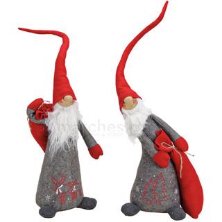 Weihnachts-Wichtel Figur 75 cm Geschenksack Textil grau/rot 1 Stk.