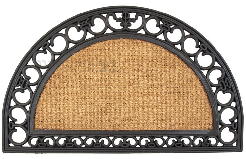 fu matte fu abstreifer kokosmatte natur halbrund mit gummirahmen 45x75x1 5cm kaufen matches21. Black Bedroom Furniture Sets. Home Design Ideas