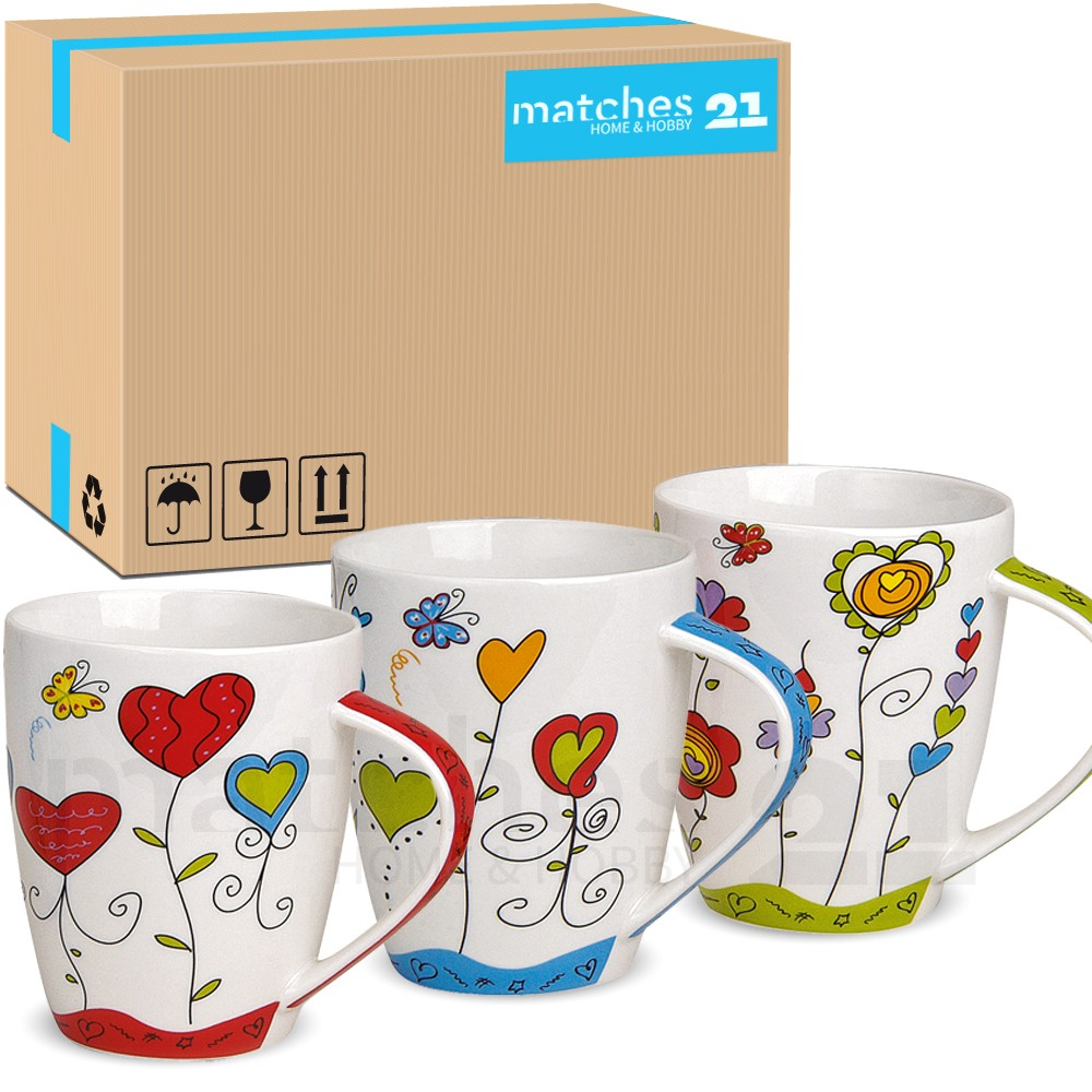 tassen becher kaffeebecher herzen blumen bunt porzellan 36 stk 10 cm 300ml kaufen matches21. Black Bedroom Furniture Sets. Home Design Ideas
