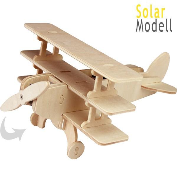 solar flugzeug dreidecker 3d holz bastelset kinder steckbausatz ab 10 jahren kaufen matches21. Black Bedroom Furniture Sets. Home Design Ideas