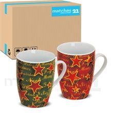 Tassen Becher Weihnachten & Sterne 36 Stk. Porzellan grün rot 10 cm / 300 ml
