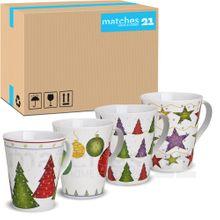 Weihnachtstassen Tassen Becher 36 Stk. 11cm / 350 ml Porzellan Weihnachtsmotive