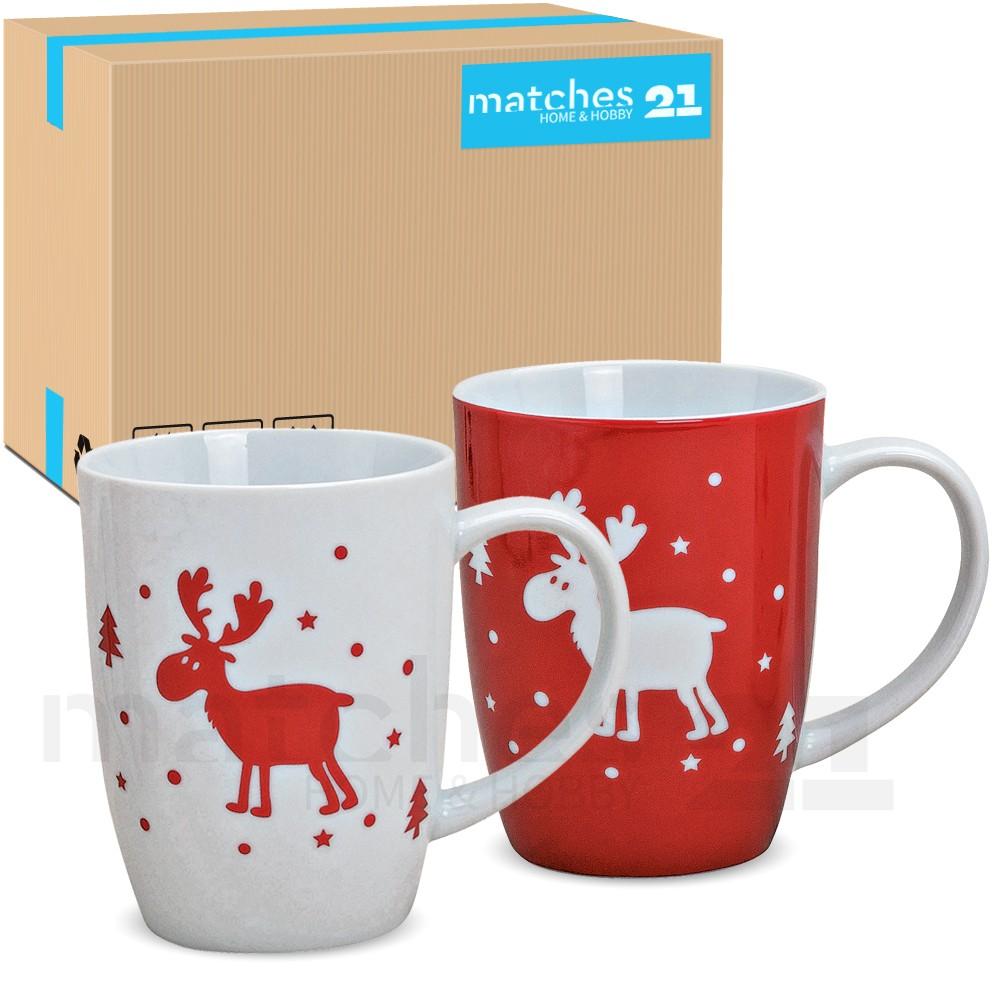 weihnachtstassen tassen becher rot wei 24 stk 11cm 400ml weihnachtsmotive kaufen matches21. Black Bedroom Furniture Sets. Home Design Ideas