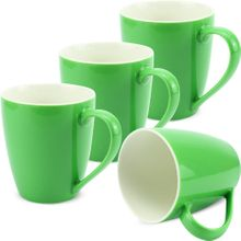 Tassen Kaffeebecher einfarbig grün Porzellan 4er Set 350 ml / 10 cm
