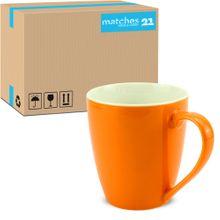 Tasse Kaffeebecher Unifarben einfarbig orange Porzellan 48 Stk. Karton 350 ml