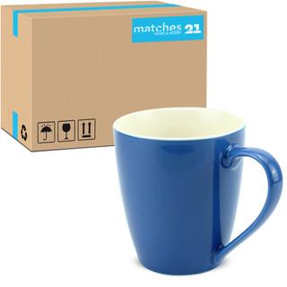 Tasse Kaffeebecher Unifarben einfarbig blau Porzellan 48 Stk. Karton 350 ml