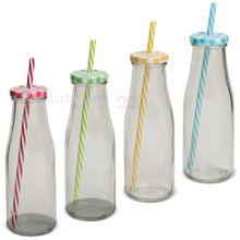 Strohhalm Glas-Trinkflaschen klar 4 Stk. bunte Deckel 6x23 cm / 400 ml