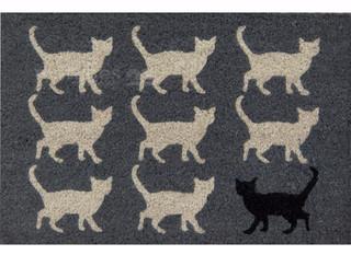 Fußmatte Kokosmatte Kokos Türmatte Katzen schwarz & weiß 40x60x1,5cm