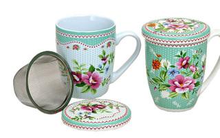 Teetasse Teebecher Blumen 2er Set Deckel & Teesieb Porzellan 11 cm / 300 ml