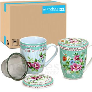 Teetasse Teebecher bunte Blumen 36 Stk. Karton Deckel & Sieb Porzellan 300ml