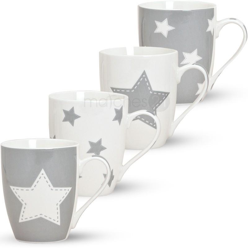 tassen becher kaffeetassen sterne 1 stk grau b ware porzellan 10 cm 300 ml ebay. Black Bedroom Furniture Sets. Home Design Ideas