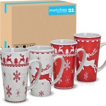 Jumbo Weihnachtstassen 36 Stk. Karton Tassen Becher rot weiß Keramik 450 ml