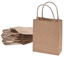 Papiertüten 10 Stk. 12x5,5x15 cm unbedruckt mit Papiergriffen für Geschenktüten