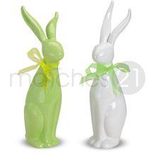 Osterhasen Hasen Deko Figuren Porzellan 2er Set stehend 30 cm grün / weiß