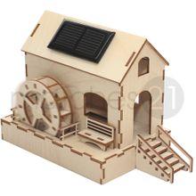 Wassermühle mit Solarantrieb Bausatz f. Kinder aus Holz Bastelset ab 9 Jahren