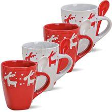 Weihnachtstasse Elch & Löffel 1 Stk. weihnachtliche Tasse rot weiß B-WARE 350 ml