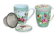 Teetasse Teebecher 1 Stk. B-WARE Teetasse Blumen Deckel & Sieb Porzellan