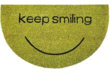 Fußmatte Kokosmatte Kokos Keep Smiling grün halbrund 45x75 cm rutschfest