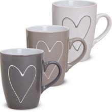 Tassen Becher Herzen Herzdekor grau beige weiß 3er Set Keramik 10 cm / 250 ml