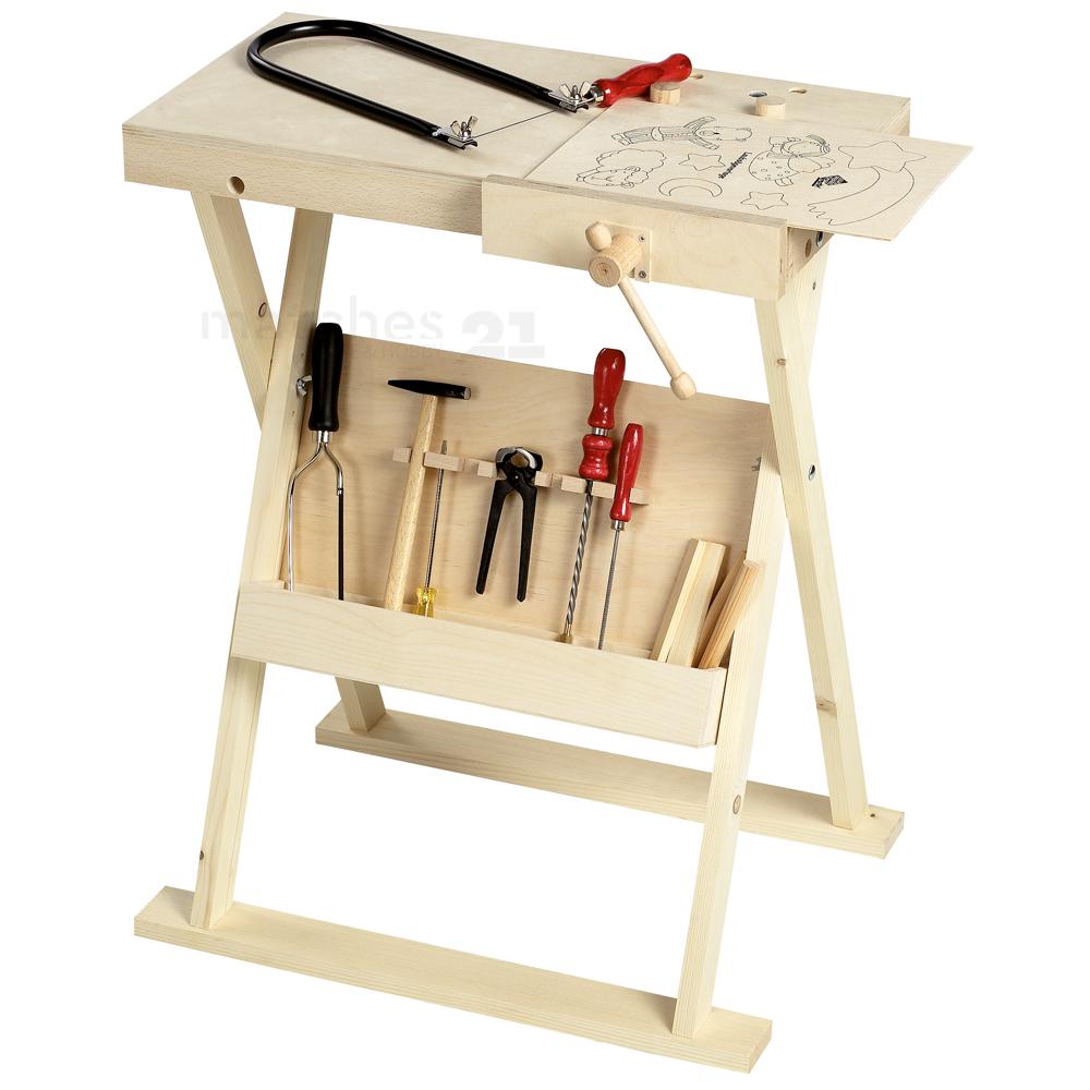 Kinder Holz Werkbank höhenverstellbar 74 cm Arbeitsplatte ...