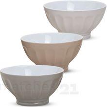 Müslischalen Frühstücksschalen 3er Set grau beige cremefarben Keramik 500 ml