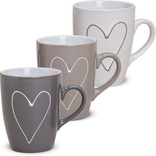 Tasse Becher Herzen Herzdekor grau & beige 1 Stk. B-WARE Keramik 11 cm / 250 ml